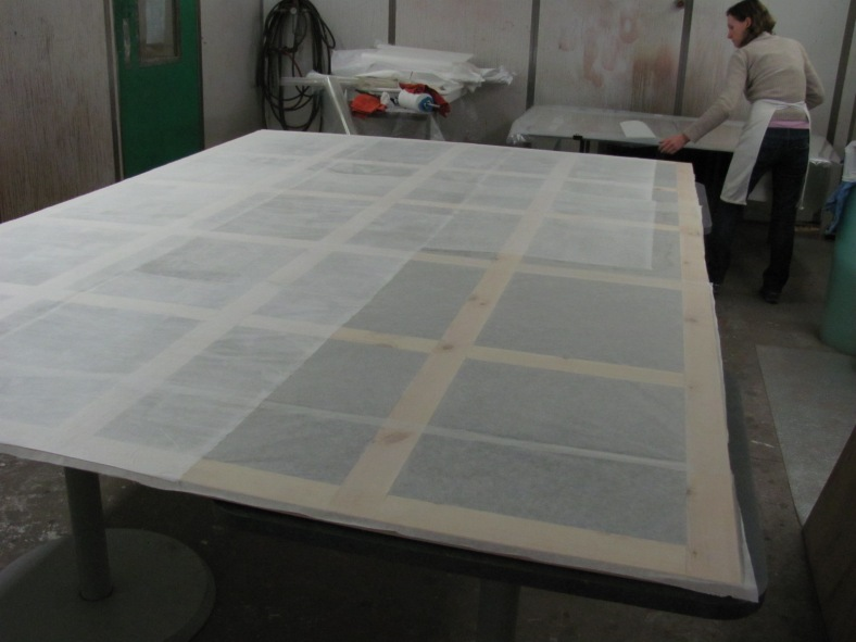 Fig.7. The wooden lattice frame for the Coronation Scot poster with layers of Japanese tissue being adhered