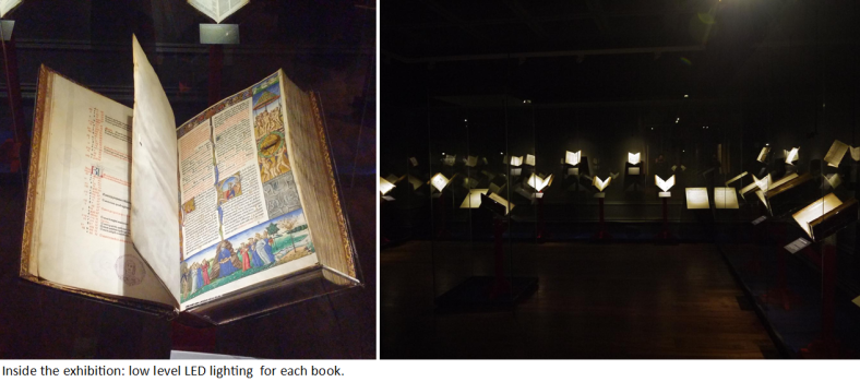 Inside the exhibition: low-level LED lighting for each book