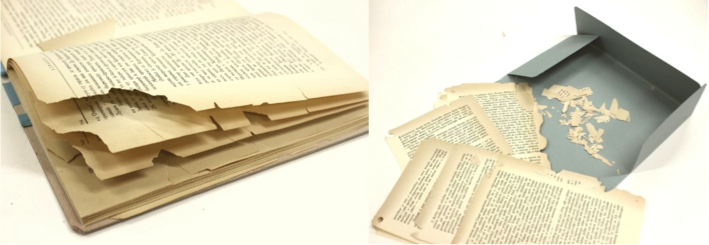 Model historical documents after 60 instances of reading: large pieces of text become detached and such objects would be considered unfit for use by the majority of archival and library users.