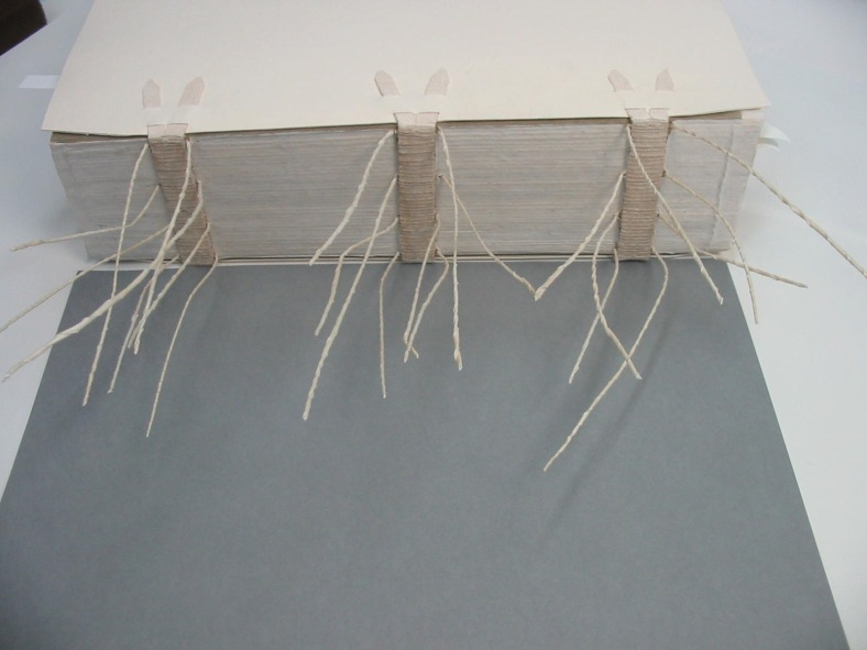 Fig. 10 SKCS 018 during treatment – pasteboards laced on and twisted parchment tackets laced through four sections